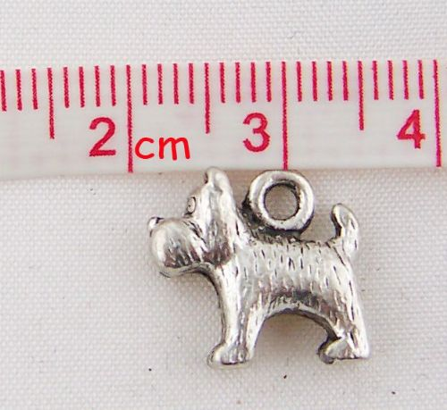 "5 Antique Silver Scottie Dog Charms14mm x13mm( 4/8"" x 4/8"")"